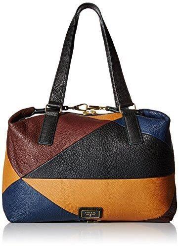 e52767738 Fossil Brown Black Patchwork Pebble Leather Preston Satchel, Women's, Brown  Patchwork