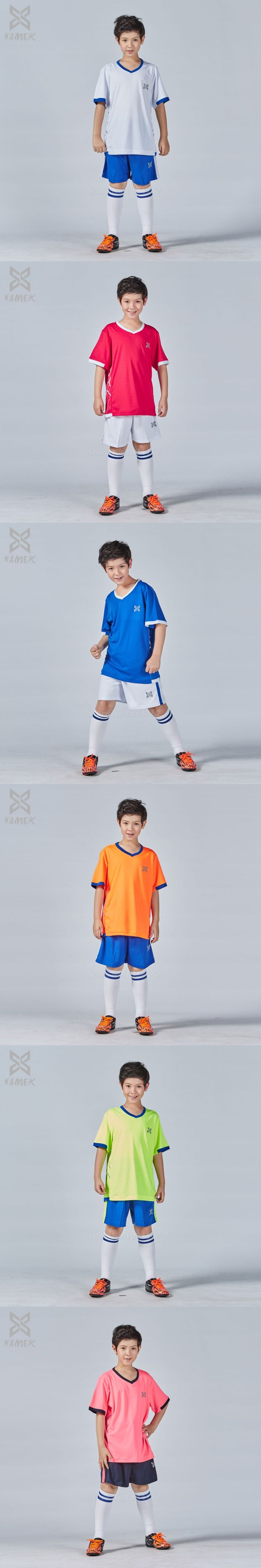 Children Soccer jerseys 2016 2017 kids soccer sets Thai quality football customized uniforms kits boys short sleeves new