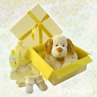 """Welcome to the world, little baby. Enjoy these beautiful gifts! All goods are lovingly presented in a cream gift hamper box decorated with ribbons and tissue paper. This gift can be made up in blue (baby boy) or pink (baby girl). Please advise under """"Special Instructions""""   Fluffy doggy Sock booties Top To Toe baby bath Baby beanie Cotton vest"""