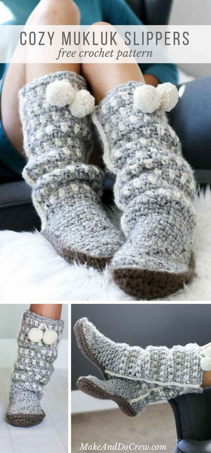 These slouchy, stylish and easy crochet slippers come together with surprisingly simple construction and very few ends to weave in! Free pattern + tutorial using Lion Brand Wool-Ease Thick & Quick.  via @makeanddocrew