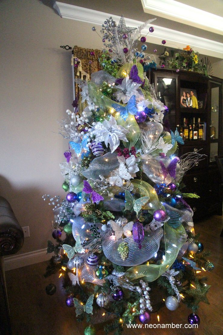 White christmas tree with purple and blue decorations - White Christmas Tree With Purple And Blue Decorations 36