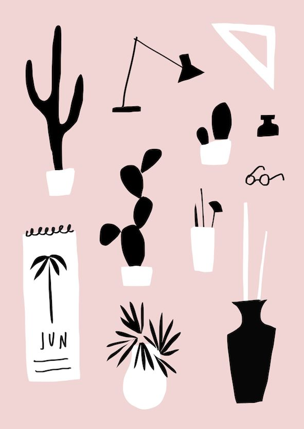 Illustrated by mercedes leon @merchesico   #illustration #cactus #plants