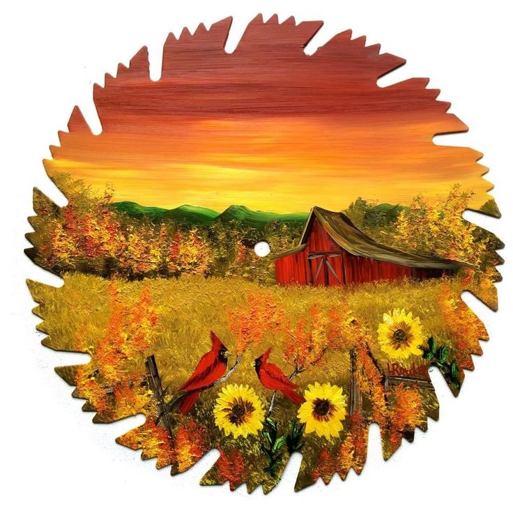 Hand Painted Saw Blade Art Sunset Cardinals Sun Flowers Red Barn NEW!!  9 1/4 IN