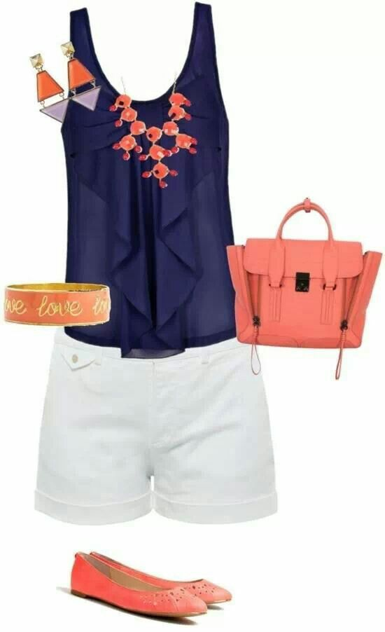 Tank top and flats and shorts and satchel