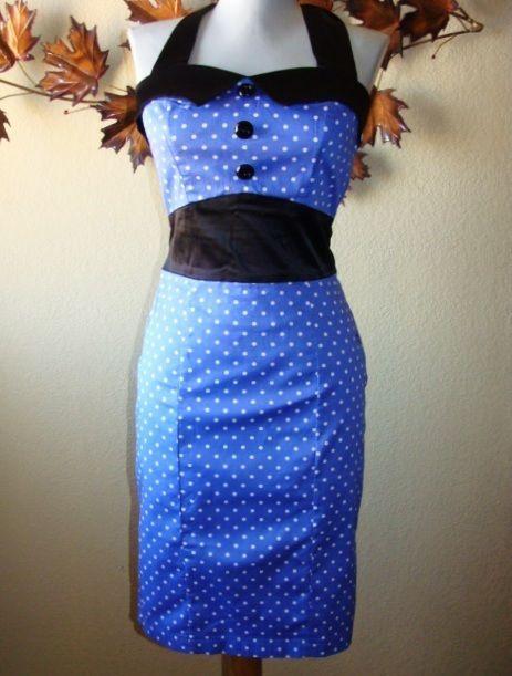H & R London Rockabilly Blue White Dot Black Waist Halter Pencil Dress XS-2X VLV #HRLondon #Pencil #SummerPinup