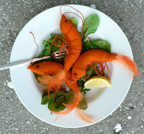 Jumbo Shrimp Bright Orange Felt Brooch