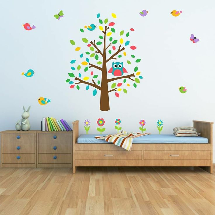Owl And Birds Tree Scene Wall Sticker from notonthehighstreet.com