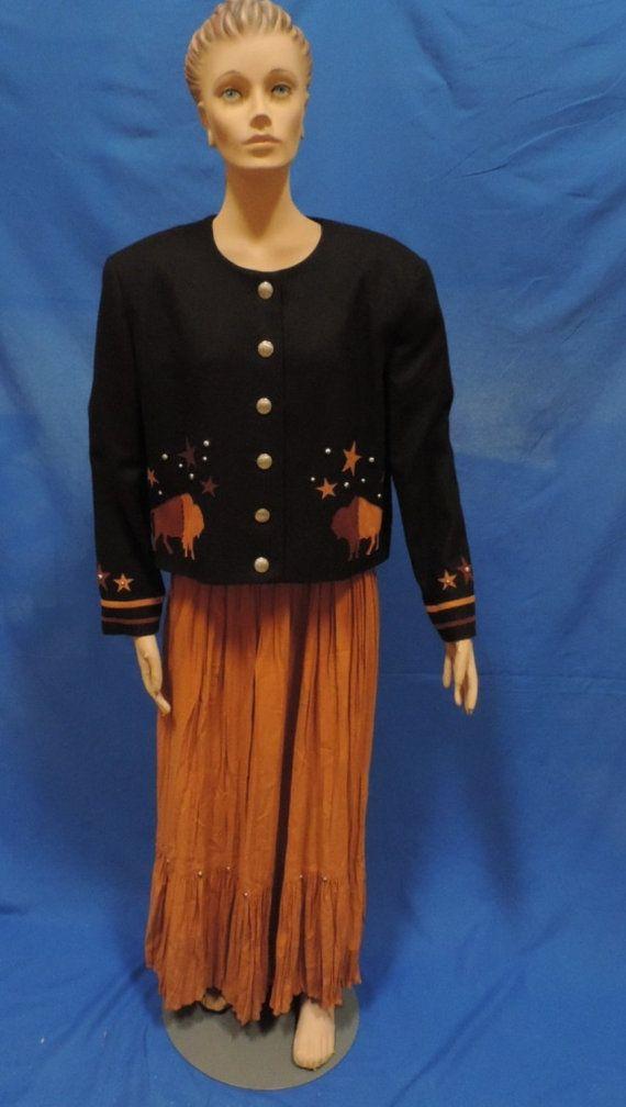 1980s Western Suit Skirt Blazer BMW Design Texas Cowboy Stud