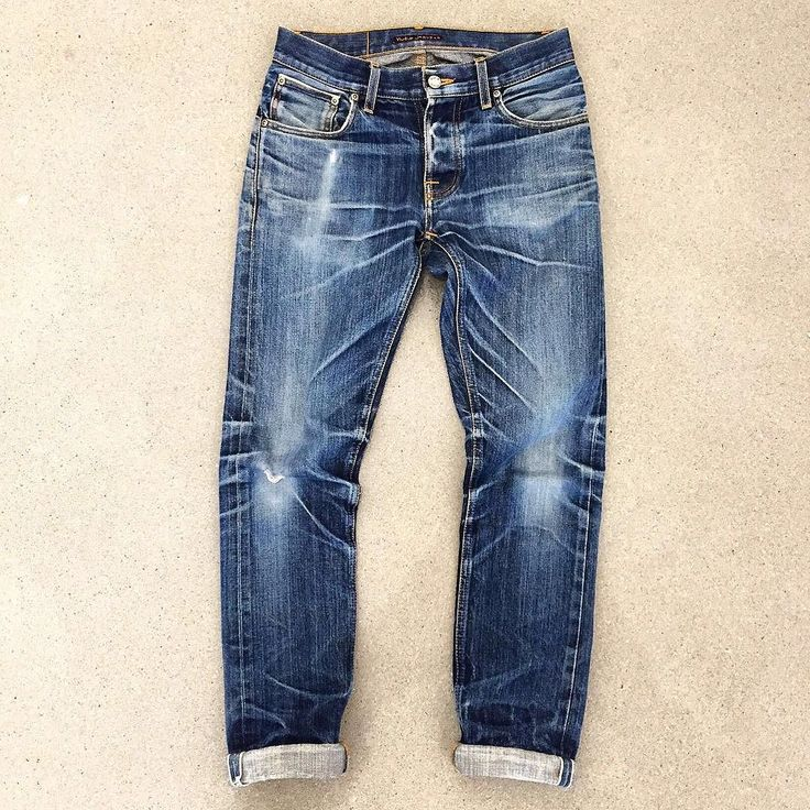"""This beautiful Nudie Jeans Grim Tim Orange Selvage was worn by one of the @barettajeans customers for two years straight. And reached the holy grail-status! #barettajeans #thedenimdaily #nudiejeans..."