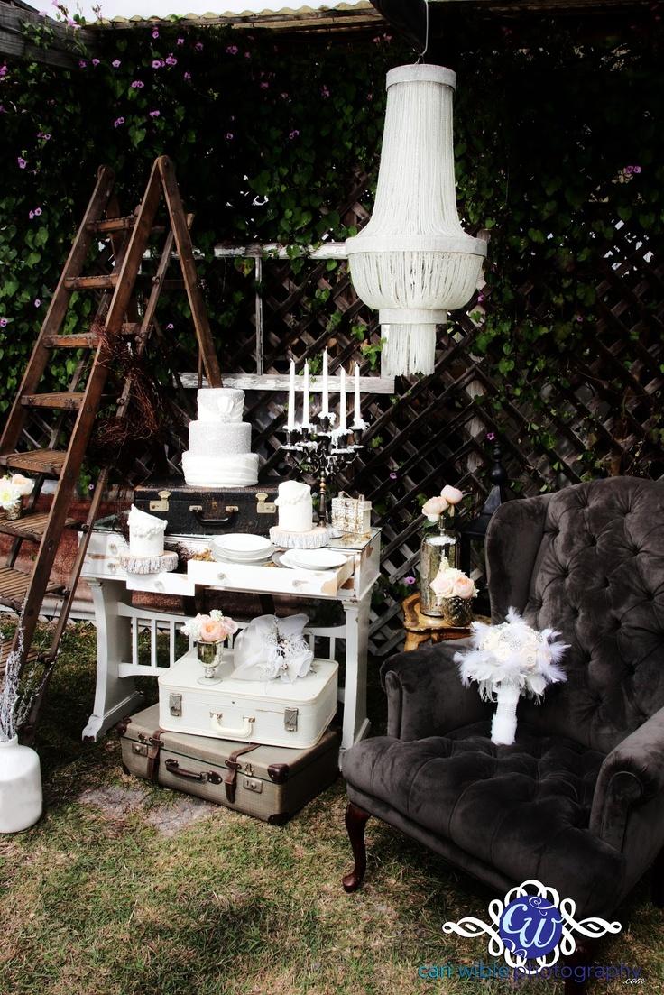 Vintage cake table by FurbishAustin   www.furbishaustin.com