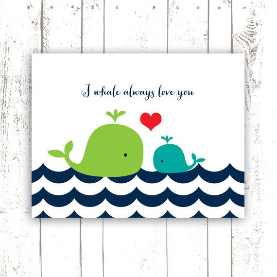 Whale Art Print - Printable File Nursery Quote Wall Art - Instant Download Nursery Art Print - I Whale Always Love You on Etsy, $5.00