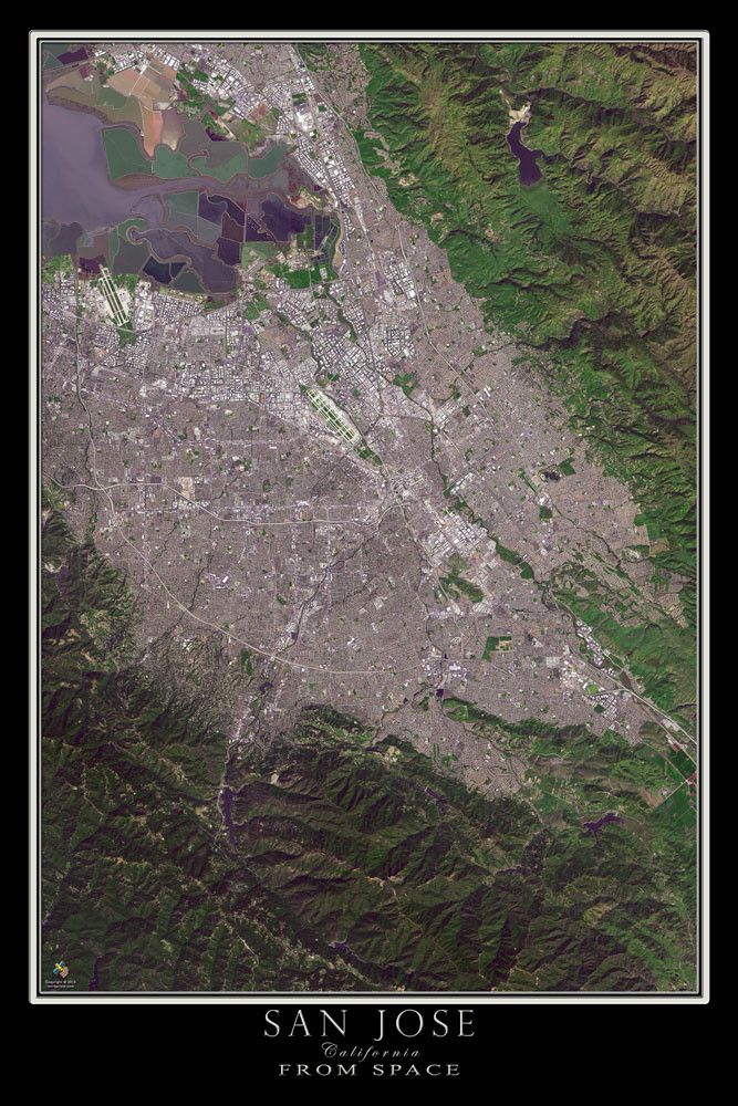 San Jose California Satellite Poster Map 44