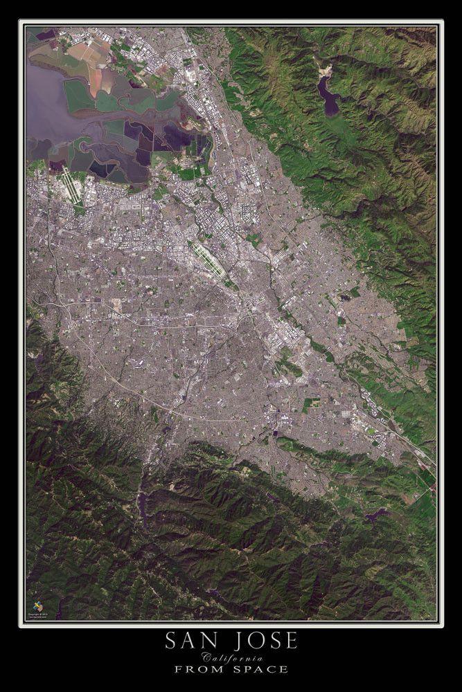 San Jose California Satellite Poster Map 17