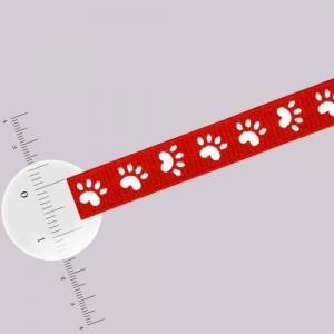 Ruban 9 mm - Empreintes de pattes - Rouge x 3,6 m