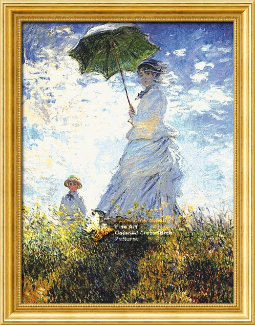 Woman with a Parasol ( Madame Monet and Her Son )