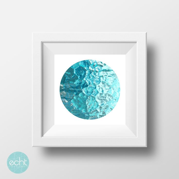 Abstract Aqua Water Geometrics Sphere - Wall Art Digital Print by ECHTDESIGNS on Etsy
