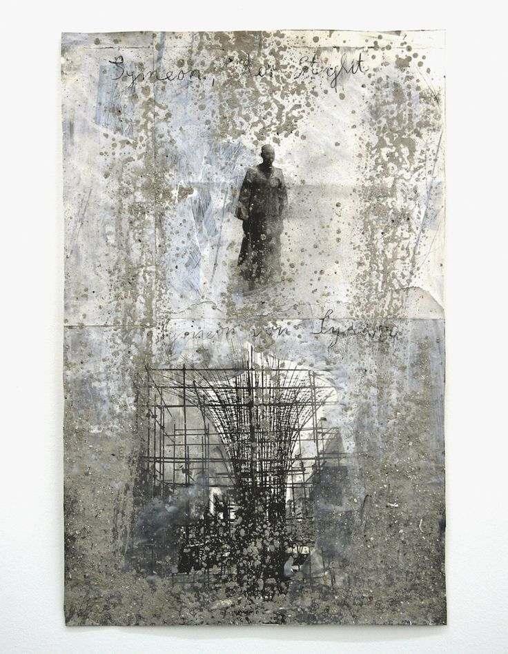 workman:    nearlya:  Anselm Kiefer,  Symeon, der Stylit, 2007  Gouache and sand on photography