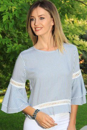 Kadın Mavi-Ekru Güpür Detaylı İspanyol Kol Çizgili Bluz