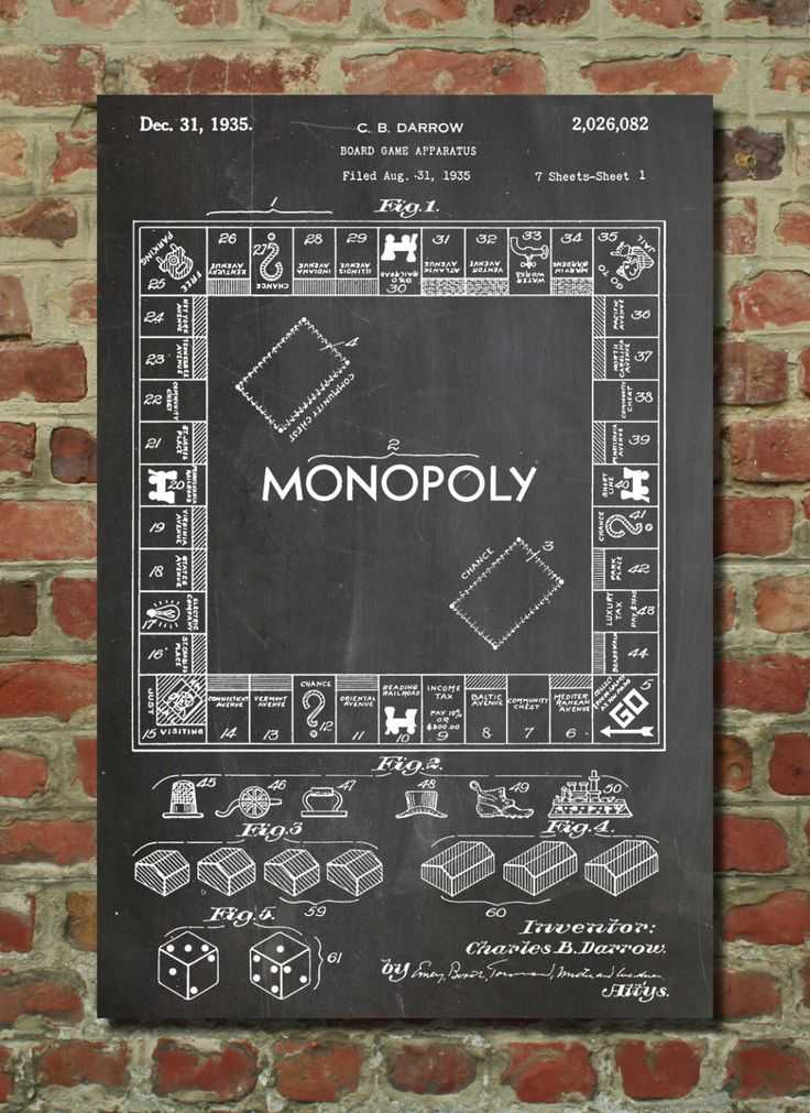 Monopoly Poster, Board Game Art, Monopoly Blueprint, Board Games PP131 by PatentPrints on Etsy https://www.etsy.com/listing/129815820/monopoly-poster-board-game-art-monopoly