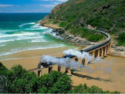 The Blue train crosses South Africa (Pretoria to Cape Town) with an onboard spa, five-star cuisine, and views of elephants and giraffes in their natural habitat.