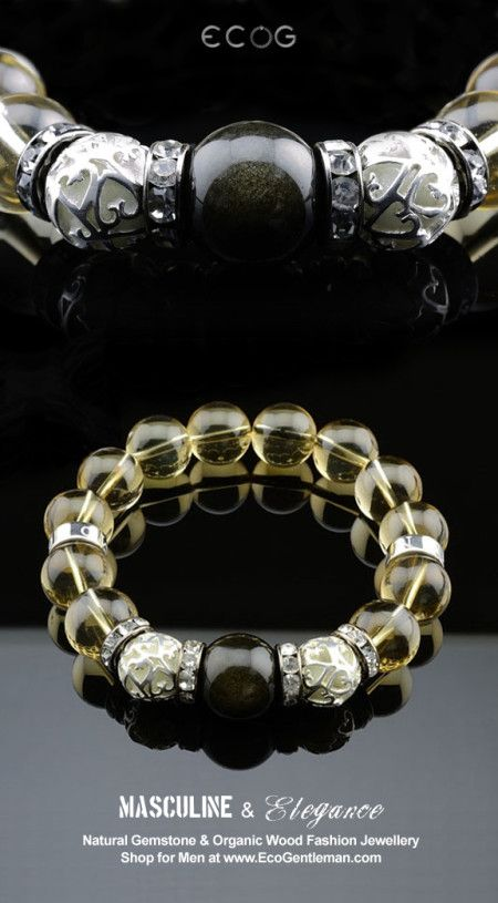 ♂ Unique Fashion Jewelry for Men - Elegant design tourmaline citrine natural gemstone fashion bracelet