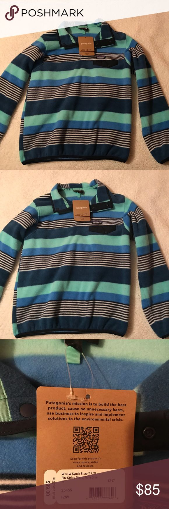 Women's Patagonia Synchilla Snap-T Pullover Shades of blue and black and white stripes! Patagonia Tops Sweatshirts & Hoodies