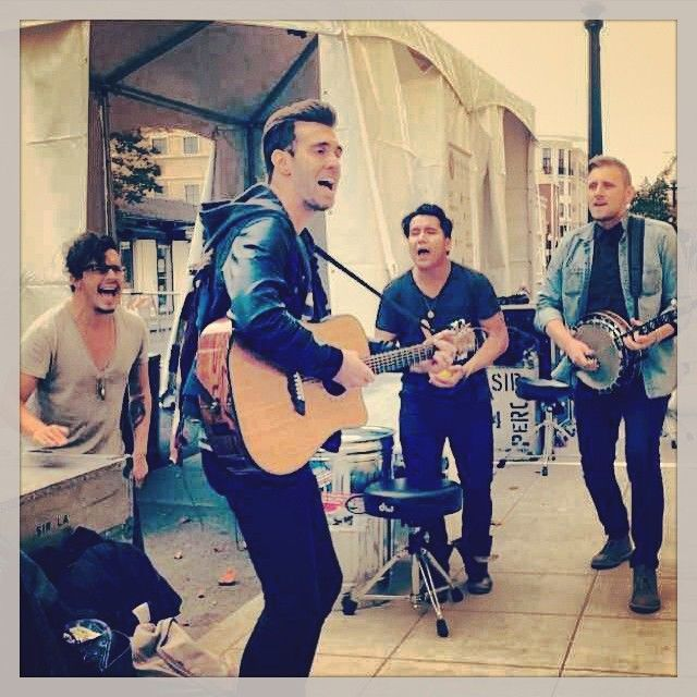 Sidewalk performance for Live In The Vineyard! American Authors