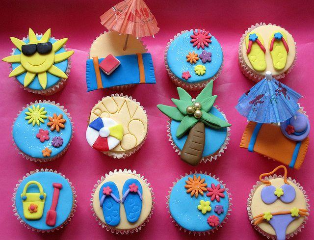 Beach Themed Bunco Party Cupcakes by Caroline'sCreations, via Flickr