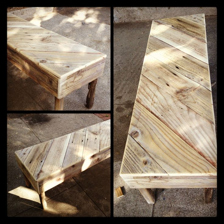 nice bench or table made from a wooden pallet and fence wood .