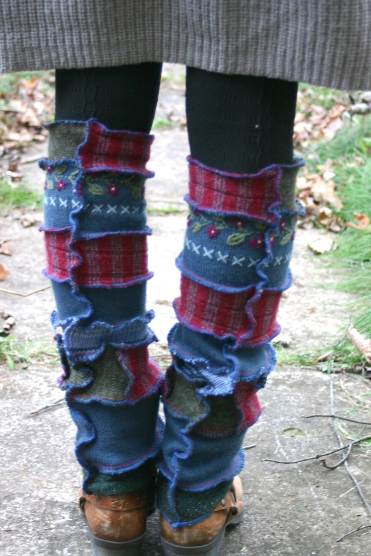 Harry and the Hippe Chic ooak Upcycled Reconstructed Patchwork Sweater Leg Warmers w/embroidery. $36.00, via Etsy.