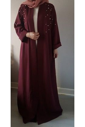 Abaya kimono PERL bordeaux