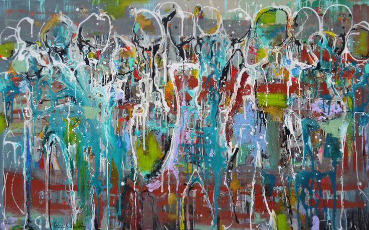 "Saatchi Art Artist Ingeborg Herckenrath; Painting, ""Crowd"" #art"