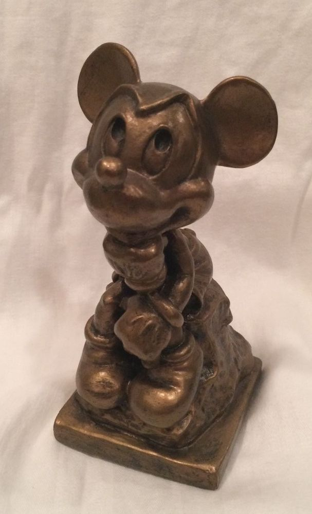 Mickey Mouse Thinking Statue Bronze Look Walt Disney