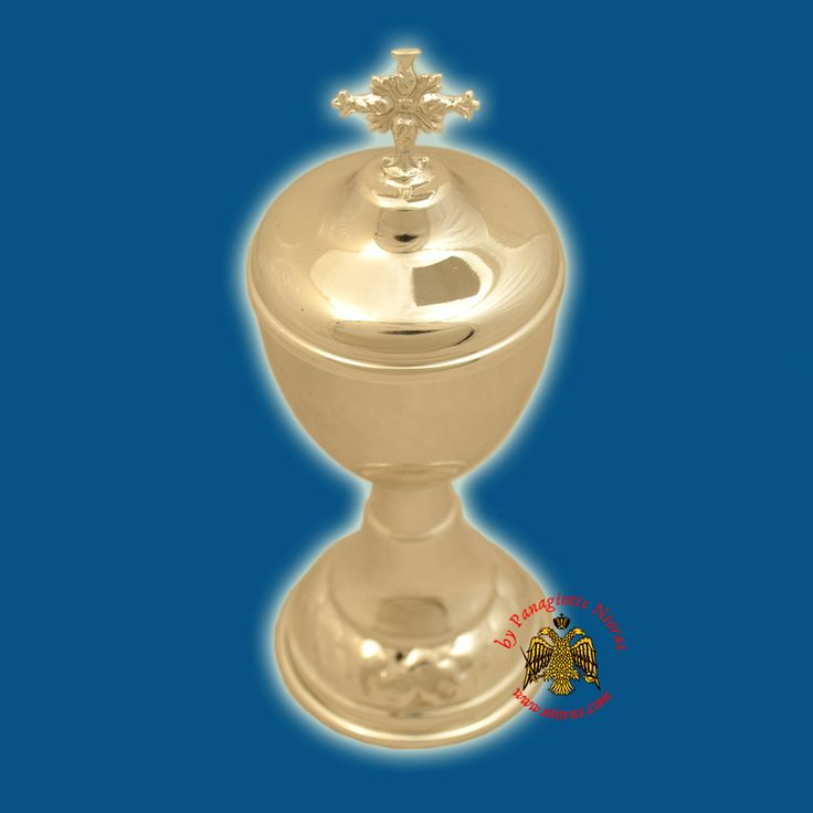Orthodox Style Wedding Cup Silver Plated Metal Lid with Cross