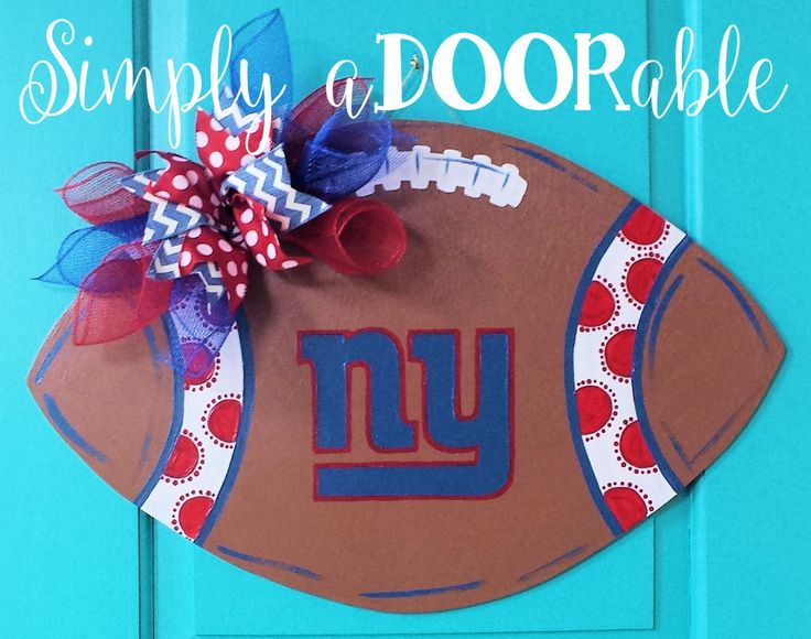 NY Giants Football Wood Door Hanger by Simply aDOORable!  New York Giants Fans  Football Wood Door Hanger, NY Giants Wreath, NY Giants Decor by SimplyaDOORableNC on Etsy