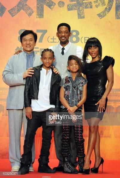 Actors Jackie Chan Jaden Smith producer Will Smith Willow Smith and producer Jada Pinkett Smith attend at 'The Karate Kid' movie premier at Roppongi...
