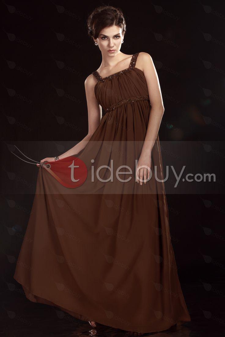 シース/コラム床まで届く長さスパゲッティストラップ花嫁さんの母ドレス