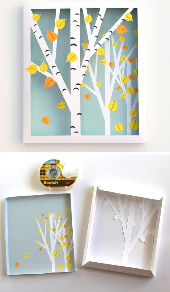 Birch Shadow Box | 35 DIY Fall Decorating Ideas for the Home | Fall Craft Ideas for Adults