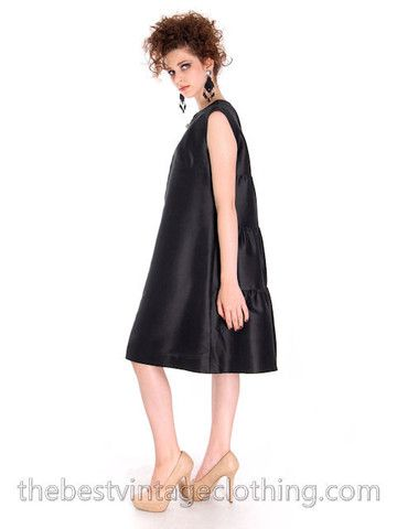 Vintage Black Silk Cocktail Gown Schiaparelli Couture 1960s Paris Medium