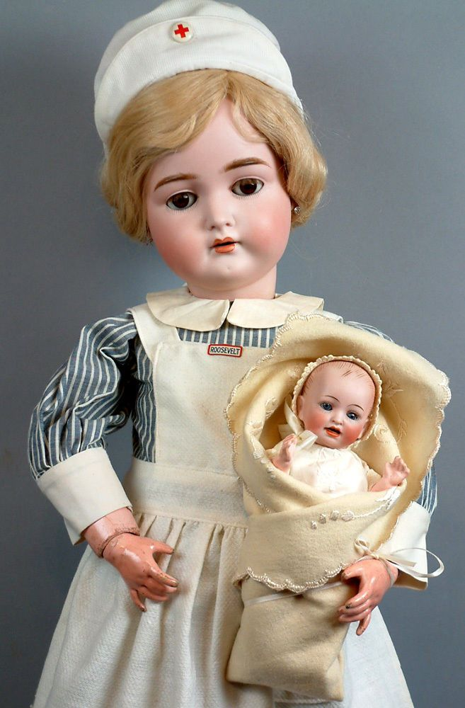 "SUPERB 29"" K & R 191 Antiq German Doll w/Antiq Nurse Costume w/Tiny Baby! WOWEE!"