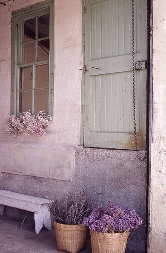 purpleDoors, Shades Of Purple, Pink House, Soft Colors, Shabby Chic, Beautiful, Windows, Dry Flower, Purple Flower