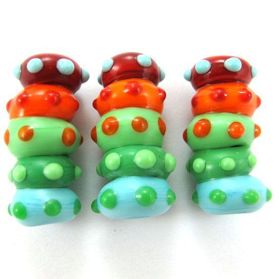 Lampwork beads Handmade lampwork bead  glass Lampwork by gaialai, $15.00: Beads Handmade, Handmade Lampwork, Glasses Lampwork, Lampwork Beads, Beads Glasses, Beads Sets, Caterpillar Beads