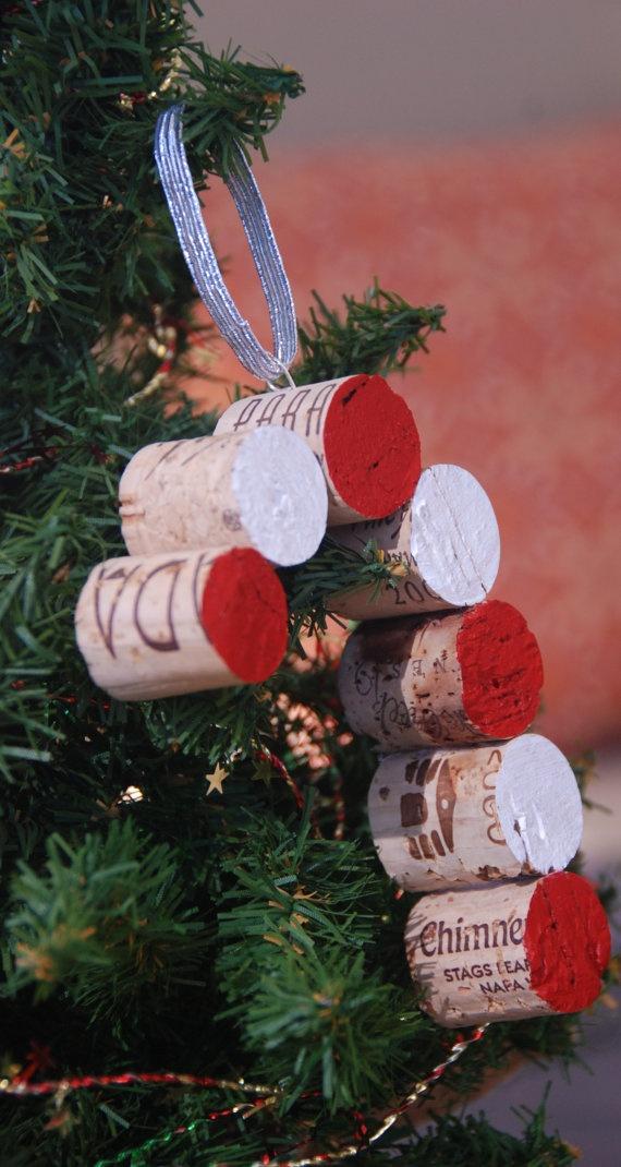 Candy Cane Wine Cork Christmas Tree Ornament by GulfCoasters,