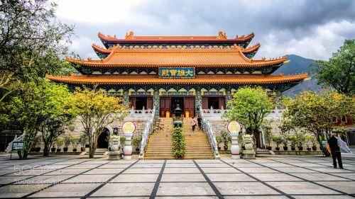 Po Lin Monastery by mcclishk  Red Hong Kong Temple Buddha Buddhist Temple Buddhist Po Lin Monastery Lantau Island Kevin McClish K.