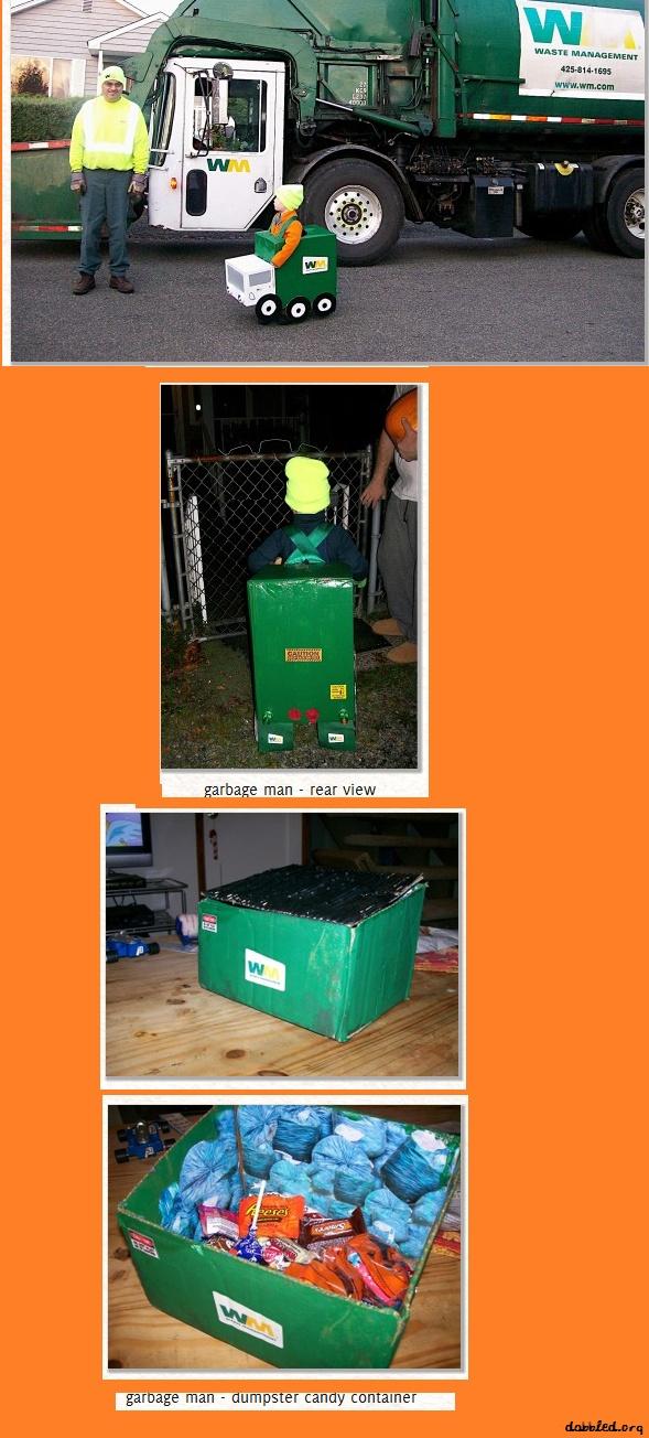 cute easy DIY  garbage man halloween costume and trash dumpster candy holder! soo cute!