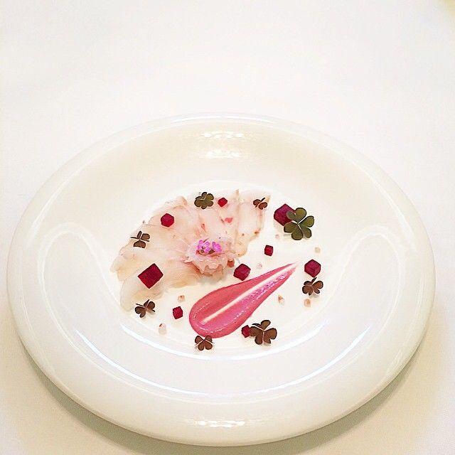 "🐟💕🐟""HIRAME Sashimi""🐟💖🐟. . Flatfis,beetroot,Himalaya pink salt,pink sauce!(flatfish's liver and beetroot)😋. . #lovefish #fish #fresh #fishlover #flatfish #beetroot #pesce #rombo #sashimi #ヒラメ #刺身 #ビーツ #新鮮 #シーフード #魚 #seafood #tadashitakayama #kresios #theartofplating #chefstalk #gastroart #expertfoods #hipsterfoodies #dontshootthechef #foodstarz #chefsofinstagram"