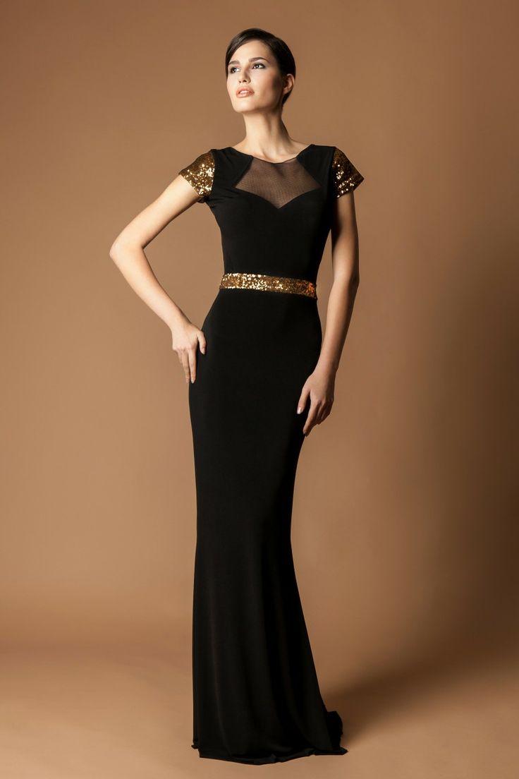 The long black dress gold