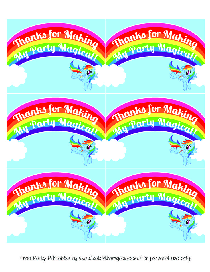 FREE PRINTABLE thank you card or favor tag for a My Little Pony Rainbow Dash birthday party!