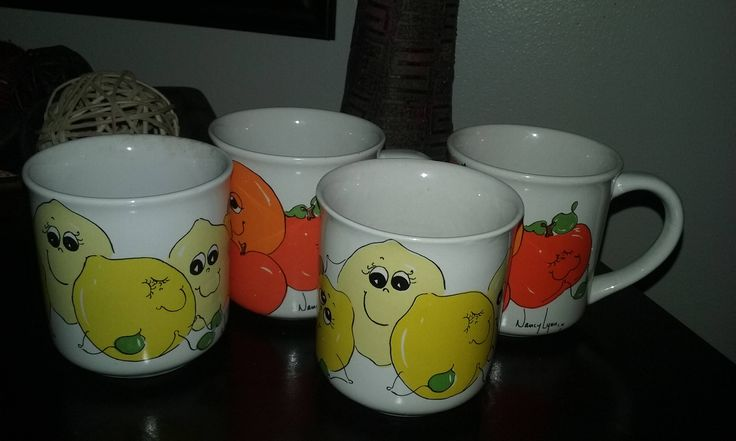 Set of 4 Vintage Nancy Lynn Lemon and Orange Mugs by MidwestCollectables on Etsy