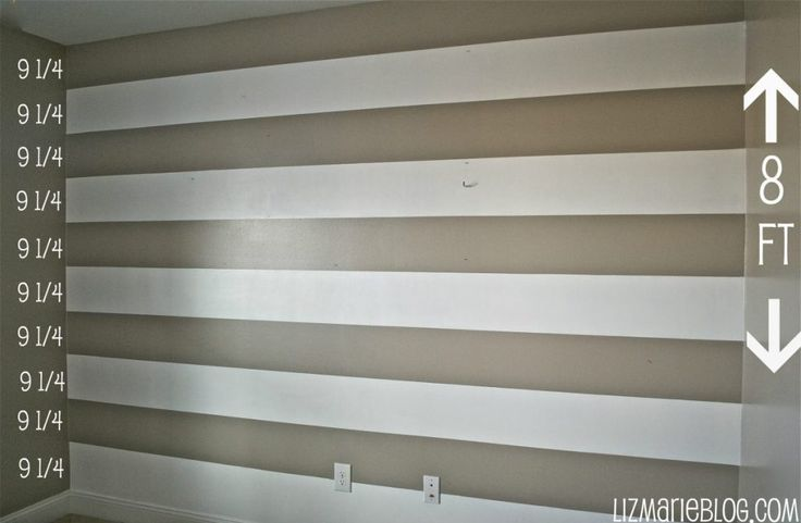 DIY stripe wall and tools used to do it.